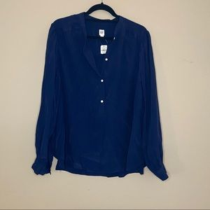 GAP navy button up v-neck long-sleeve blouse